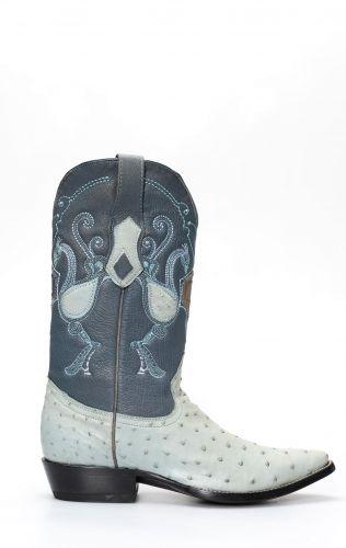 Cuadra boot in blue ostrich shoulder leather