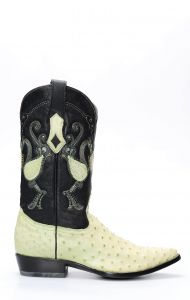 Stivali Texani Cuadra in pelle di Spalla Di Struzzo verde chiaro