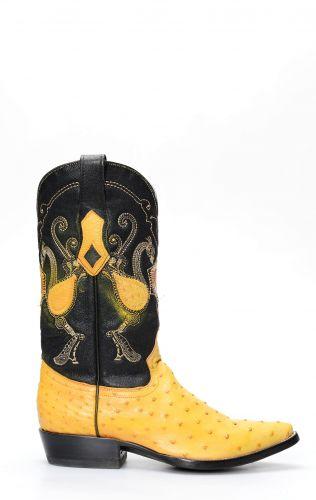 Stivali Texani Cuadra in pelle di Spalla Di Struzzo arancio