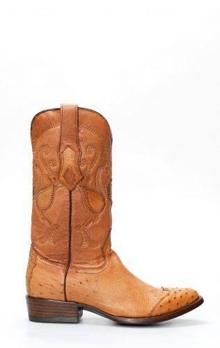 Cuadra boots in honey ostrich belly with toe in shoulder