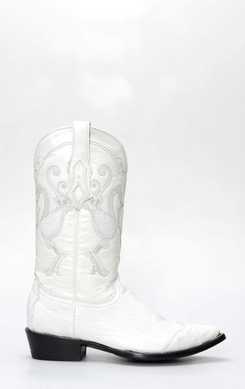01e93f45f1e Cuadra white ostrich belly boots with toe on shoulder | CLAV3PZ2BL