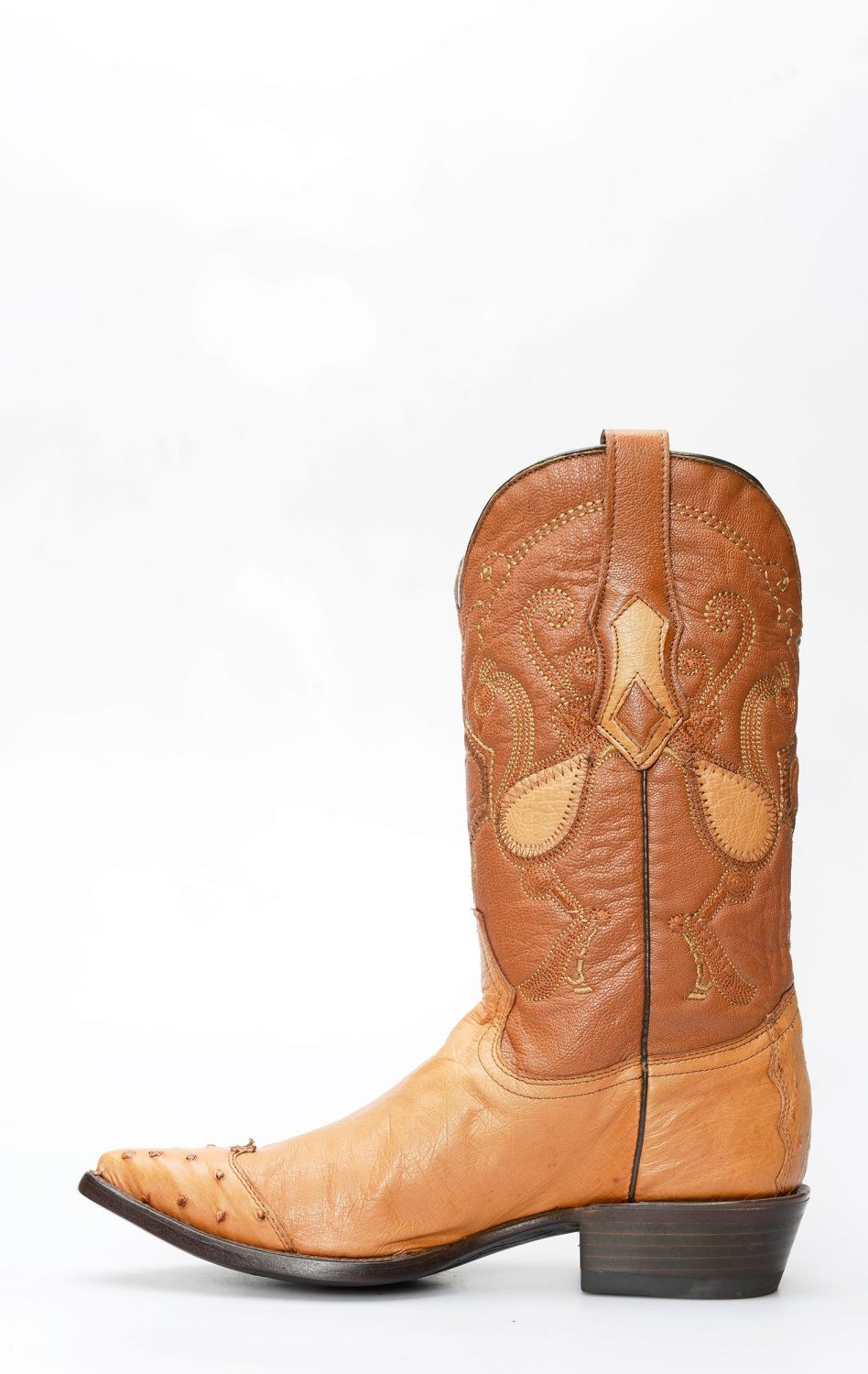 461f3ded2cf Cuadra boots in ostrich belly with honey toe on shoulder | CLAV3PZ2MI