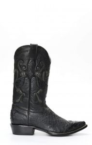 Stivali Cuadra nero in pelle di pancia di struzzo con puntale in spalla