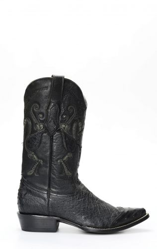 Cuadra boots in black ostrich belly with shoulder tip