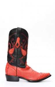 Red Cuadra ostrich boots belly skin with toe on shoulder