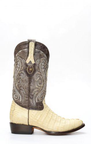 Stivali Cuadra in pelle di coccodrillo color panna