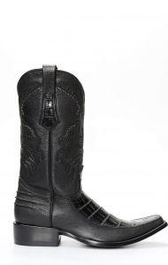 Cuadra boots in black crocodile belly skin