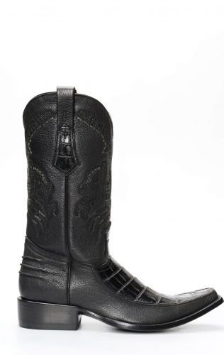 Cuadra boots in black crocodile belly skin