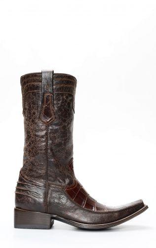 Stivali Cuadra in pelle di pancia di coccodrillo marrone