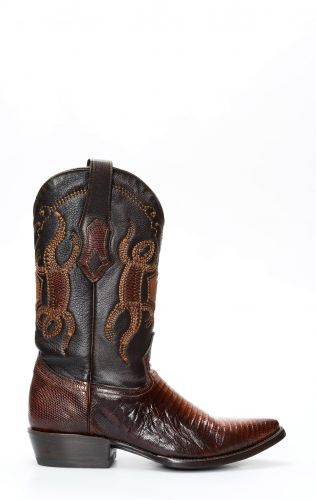 Brown Cuadra boots in lizard skin