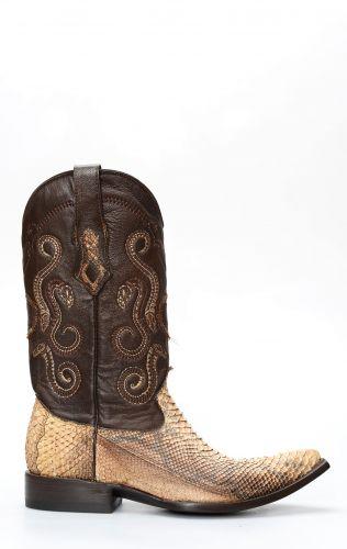 Stivali Texani Cuadra in pelle di pitone color paglia