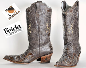 Frida by Cuadra boots with blue / light blue python inserts