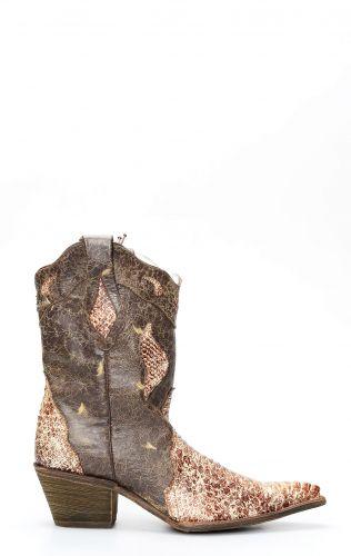 Stivali Texani Frida by Cuadra in pelle di pitone marrone invecchiato