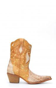 Stivali Texani Frida by Cuadra color paglia in pelle di pitone
