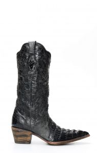 Cuadra by Frida boots in black crocodile leather
