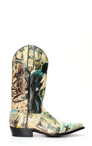 Jalisco boots with cartoon print