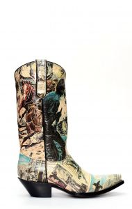 Jalisco boots in classic Texan style with comic strip print