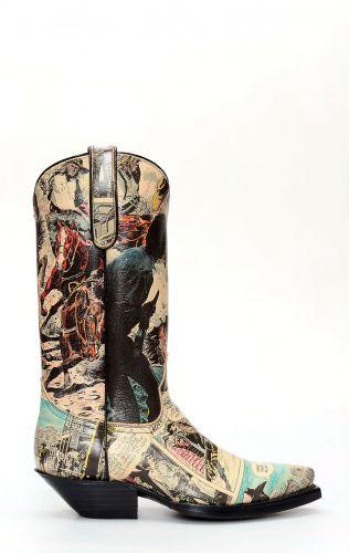 Stivali Jalisco texano con fumetto stampato