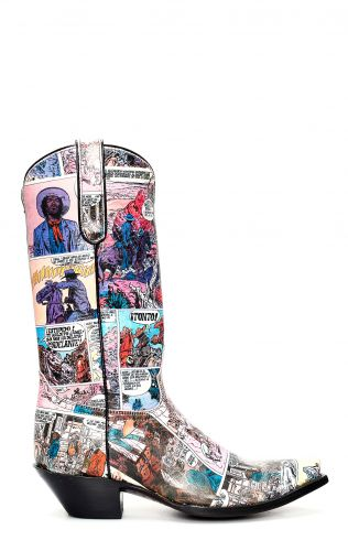 Jalisco boots with Texan-style comic strip