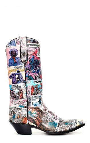 Stivali Jalisco con fumetto stampato in stile Texano