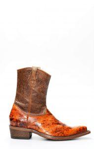 Stivali Cuadra in pelle di anguilla rosso sfumato con cerniera