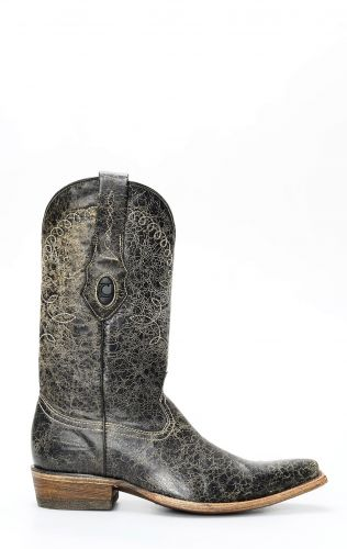 Brushed Cuadra boots with aged gray rustic finish