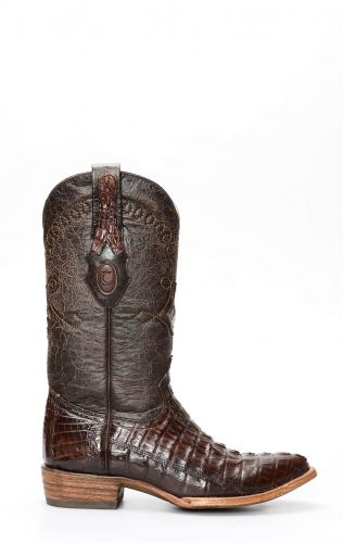 Cuadra Boots en cuir de crocodile brun foncé