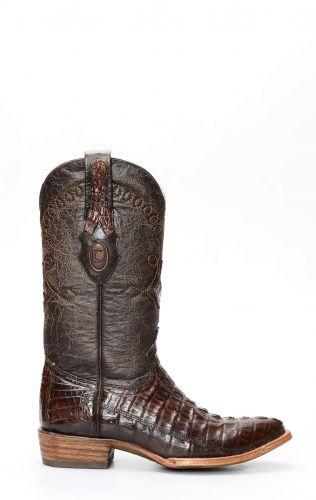 Stivali Texani Cuadra in pelle di coccodrillo testa di moro rustico