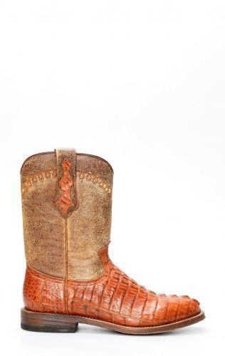 Stivali Texani Cuadra in pelle di coccodrillo color miele