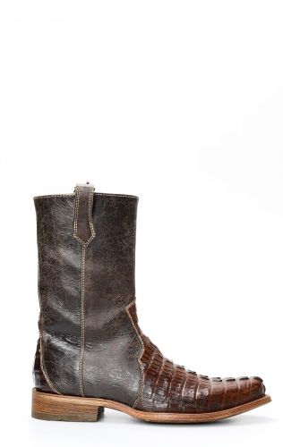 Cuadra boots in dark brown crocodile leather with zipper