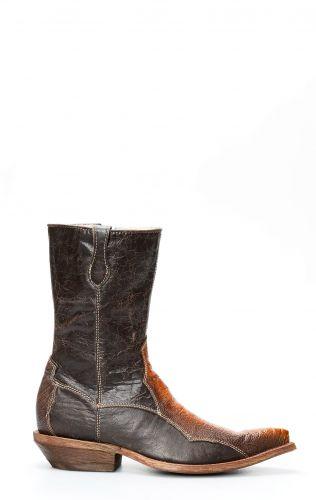 Cuadra Boots en cuir de jambe d'autruche avec fermeture éclair
