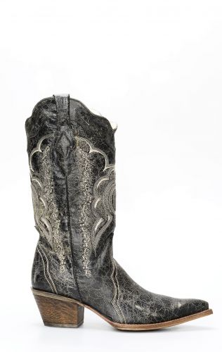 Frida by Cuadra boots in black and gray brushed leather