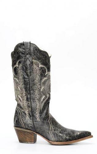 Stivali Texani Frida by Cuadra in pelle spazzolata nera e grigia