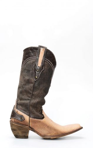 Bottes Frida by Cuadra en cuir manta rose