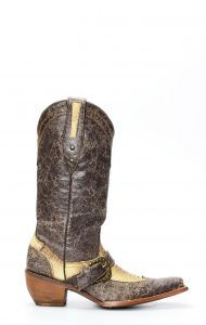 Bottes Frida by Cuadra en cuir marron à jambe d'autruche