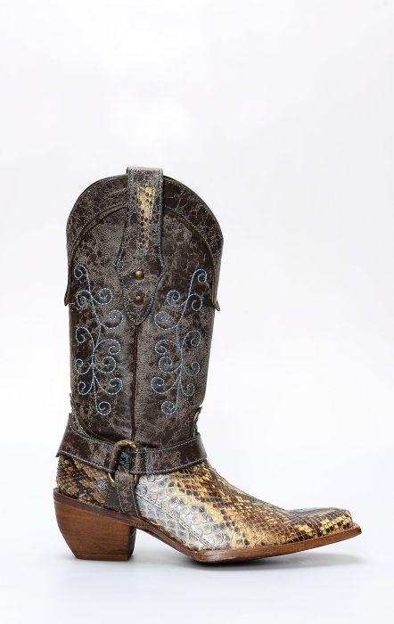 Stivali Frida by Cuadra in pelle di pitone con riflessi argento