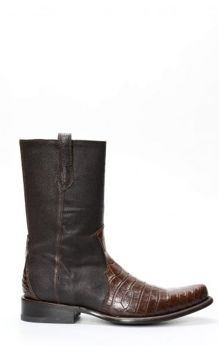 Cuadra boots with zipper in brown crocodile belly skin