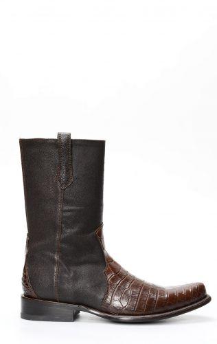 Stivali Cuadra con cerniera in pelle di pancia di coccodrillo marrone