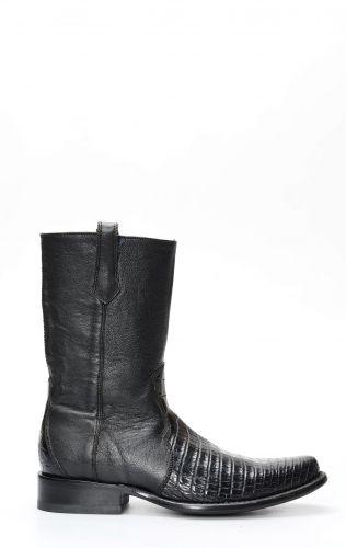 Cuadra bottes avec fermeture à glissière en peau de ventre de crocodile noir