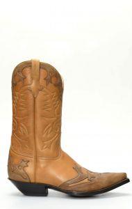 Stivali Texani Jalisco marrone con mascherina a contrasto marrone scuro