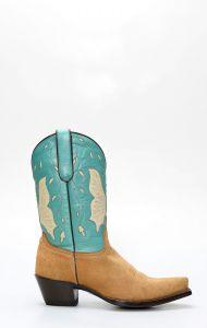Stivali Texani Jalisco scamosciato con gambale turchese