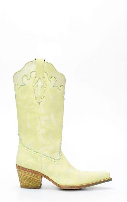 Stivali Texani Frida by Cuadra in pelle color verde chiaro