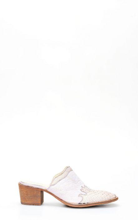 Sabot Frida by Cuadra in pelle con puntale in pitone viola chiaro