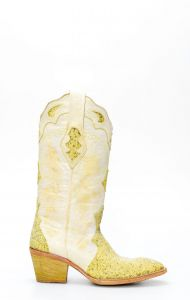 Stivali Texani Frida by Cuadra in pelle con puntale in manta verde