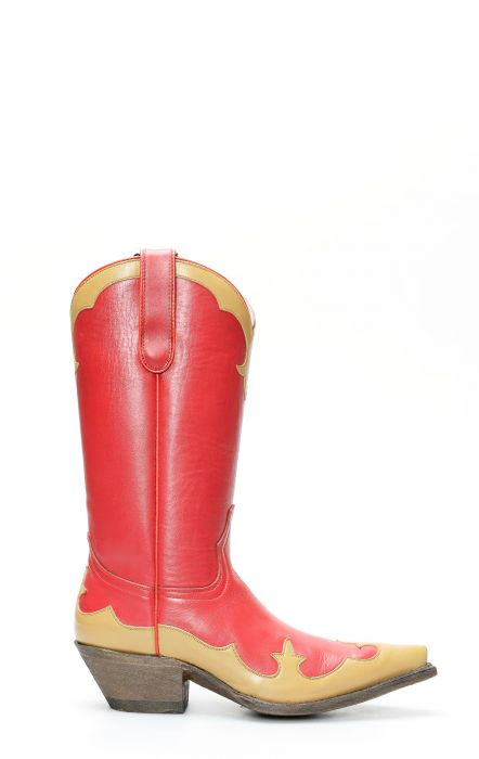 Red Jalisco boots with contrasting mask