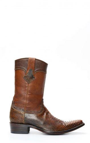 Cuadra Boots en cuir de python marron