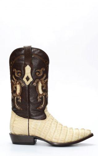 Stivali Texani Cuadra in pelle di coccodrillo bianco spazzolato punta x