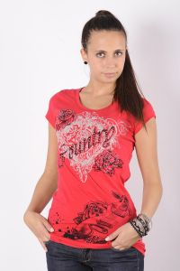 Liberty wear t-shirt donna rossa country-rock