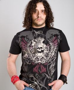Liberty wear t-shirt man skull & dog tags