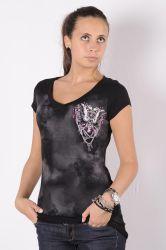Liberty wear black women's t-shirt with purple butterfly